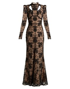 adbcb5376 Cut-out floral lace gown