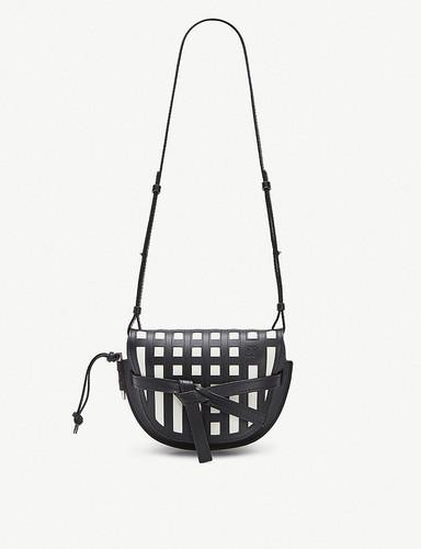 Gate grid small leather shoulder bag