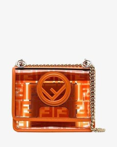 orange Kan I FF logo print PVC and leather cross-body bag