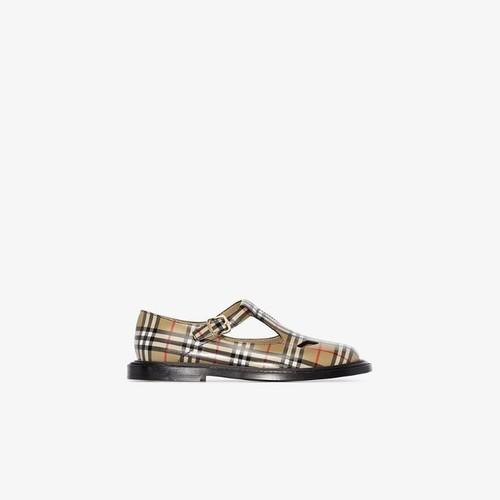 Beige Vintage check leather T-bar shoes