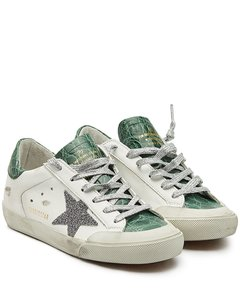 Super Star Leather Sneakers with Swarovski Crystals