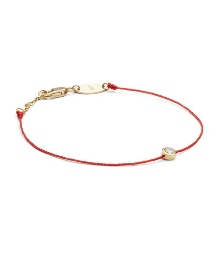 Yellow Gold And Diamond Pure Bracelet With Red Thread